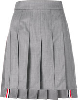 Thom Browne Below Knee Dropped Back Pleated Skirt In Light Grey Super 130's Wool Twill