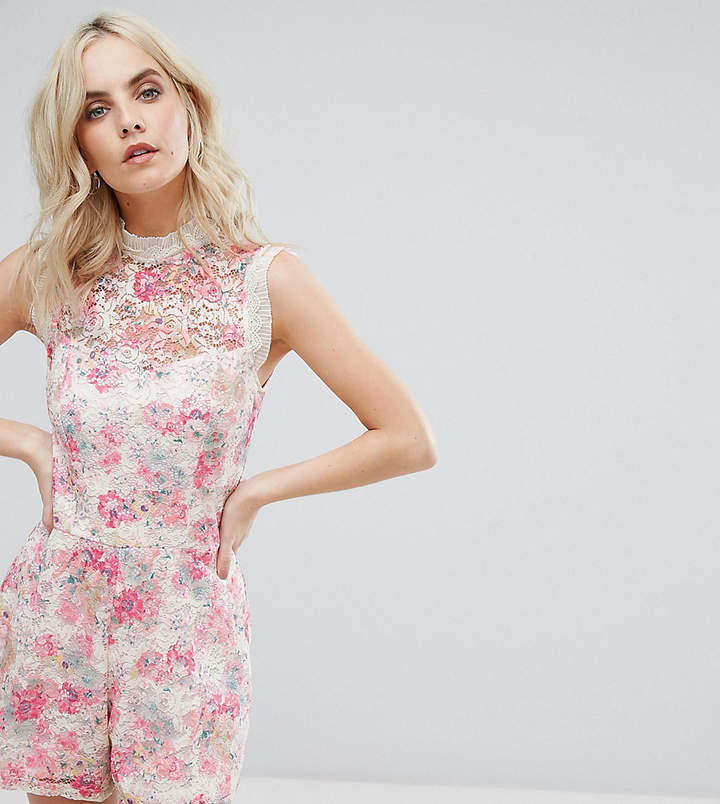 Asos High Neck Printed Occasion Lace Playsuit