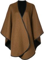 Sofia Cashmere leather trim cape