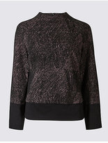 M&S Collection Printed Ponte Long Sleeve Shell Top