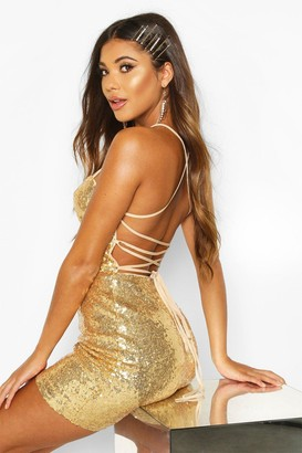 boohoo Sequin Strappy Back Bodycon Christmas Party Dress