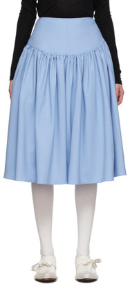 Vejas Blue Wool Basque Skirt