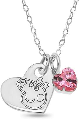Peppa Pig Personalised Sterling Silver Children's Heart Pendant Necklace with Pink Charm in Gift Box