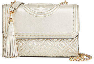 37bc217c0fe Tory Burch Fleming Small Convertible Metallic Leather Shoulder Bag