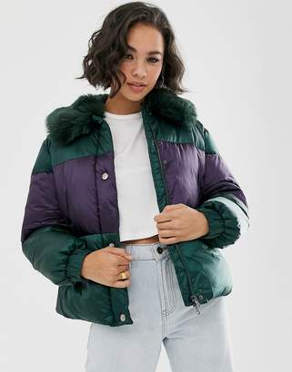 Emporio Armani padded jacket with faux fur collar-Green
