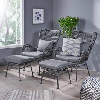 Bungalow Rose Freetown Wicker Lounge Chair and Ottoman Leg Color: Gray, Upholstery Color: Dark Gray