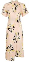 Topshop Floral drape neck midi dress