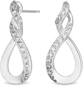 Simply Silver Cubic Zirconia Infinity Top Twist Drop Earring