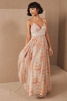 Anthropologie Needle & Thread Ruby Bloom Maxi Dress By in Blue Size 8