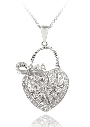 Icz Stonez Sterling Silver CZ Heart and Bow Necklace