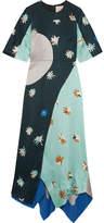 Roksanda Amaya Printed Hammered Silk-satin Maxi Dress