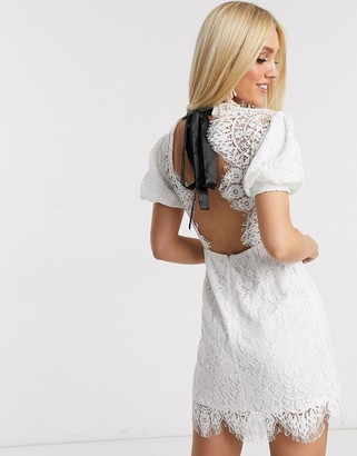 Love Triangle lace mini dress with puff sleeve in white