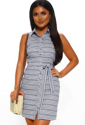 Pink Boutique Madrid Moment Navy Striped Sleeveless Shirt Dress