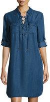Neiman Marcus 3/4-Sleeve Chambray Dress, Midnight Blue