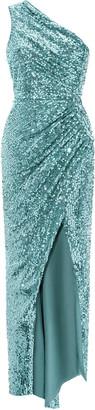 Rasario Asymmetric Draped Sequined Maxi Dress