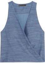 Vix Wrap-effect Cotton-chambray Top - Light denim