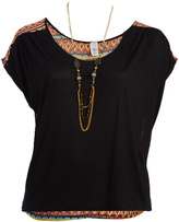 Paparazzi Black & Orange Geo Cap-Sleeve Top & Necklace - Plus