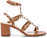 Valentino Leather Rockstud Sandals in Brown.