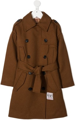 No21 Kids Double-Breasted Belted Coat