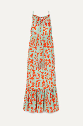 Eywasouls Malibu Stevee Tiered Printed Cotton-voile Maxi Dress - Turquoise
