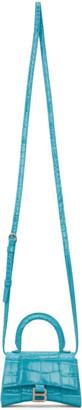 Balenciaga Blue Croc Mini Hourglass Bag