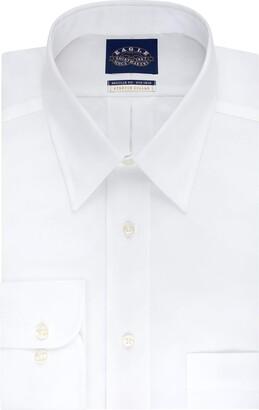 Eagle EagEagle Men's Non Iron Stretch Collar Regular Fit Solid Point Collar Dress Shirt