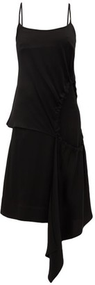 colville Drawstring Cut-out Satin Dress - Black