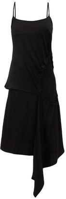 Colville - Drawstring Cut-out Satin Dress - Womens - Black