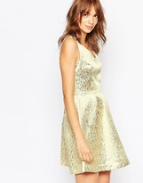 Vila Metallic Plunge Skater Dress