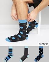 Asos Socks With Spot & Stripe Design 3 Pack