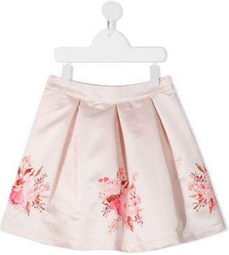 Patachou Floral Print Box-Pleat Skirt