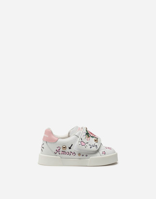 Dolce & Gabbana Portofino Light Sneakers In Calfskin With Tropical Rose Print
