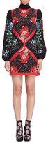 Alexander McQueen Tablecloth-Print Scarf-Neck Dress