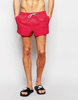 Asos Swim Shorts In Red Super Short Length