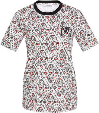 J.W.Anderson Logo-Embroidered Floral-Print Cotton-Jersey T-Shirt Size: