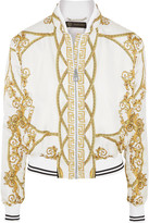 Versace Printed Silk-twill Bomber Jacket - White