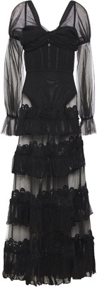 Jonathan Simkhai Tiered Layered Crepon-paneled Crochet-trimmed Tulle Gown
