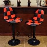 Amerihome AmeriHome 2-piece Checkered Racing Bar Chair Set