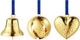 Georg Jensen Heart/Ball/Bell Tree Decoration Set - Gold Plated Brass
