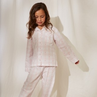 The White Company Heart Gingham Pyjamas (1-12yrs), White/Pink, 7-8yrs