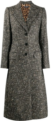 Dolce & Gabbana Long Tailored Coat With Houndstooth Pattern