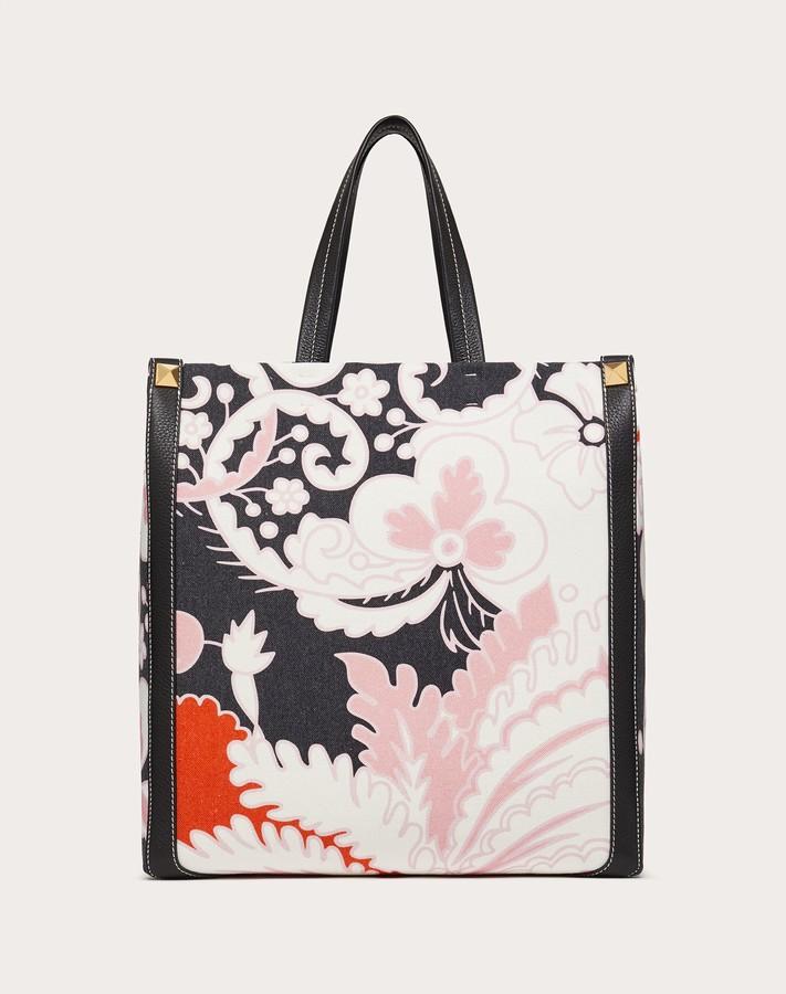 Thumbnail for your product : Valentino Garavani Uomo World Arazzo Print Canvas Tote Bag Man Black 70% Cotton 30% Linen OneSize