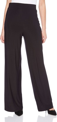 Roman Originals Women Wide Leg Palazzo Trousers - Ladies Formal Work Office Smart High Rise Elasticated Pull On Stretch Tailored Flared 1940s Loose Thick Pants - Black - Size 14