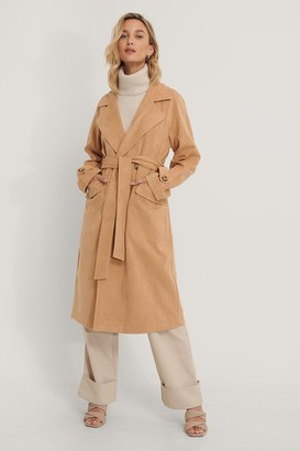 NA-KD Fake Suede Trench Coat