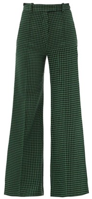Racil Lincoln Flared Wool-blend Houndstooth Trousers - Black Green