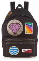 Saint Laurent Multi Patch-appliqué Canvas Backpack