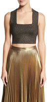 A.L.C. Ali Metallic Crop Top, Silver