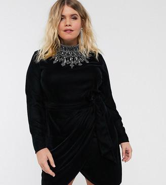 Asos DESIGN Curve exclusive velvet high neck mini dress