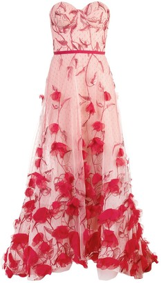 Marchesa Strapless Floral Dress