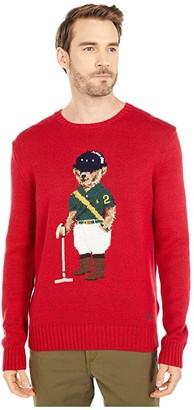 Polo Ralph Lauren Cotton Bear Sweater (Park Avenue Red) Men's Clothing